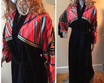 SALE vintage Vanity Fair robe, 1960s Rockability bathrobe Mod 60s Black robe with dayglo stripes fleece belted loungewear 60s Pajamas