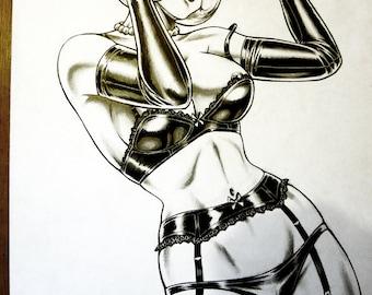 Original Nik Guerra art illustration /  LUCRETIA - Pinup 3 / Mixed Media /  pulp sexy cartoon pinup black white comics blonde bob woman
