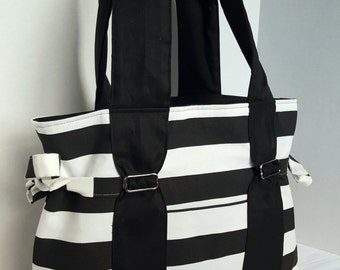 Large Diaper bag,purse, handbag black and white stripe with black canvas lining. With or without bottle pockets and key pocket on the front.