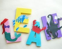 Little Mermaid Party or Room Decoration - Child's Name as Characters