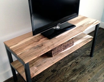 "The ""Stockton""  Media Unit/Shelving Unit - Reclaimed Wood & Steel - Multiple Sizes Available"
