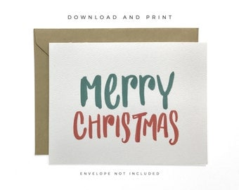 Printable Merry Christmas Card, Hand Lettered Christmas Card, Christmas Greeting Card, Holiday Greeting Card