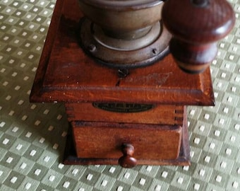Antique Coffee Grinder - Coffee Grinder - Made In Germany - HAHA Grinder - Garentiert Prima HAHA Coffee Grinder - Wooden Coffee Grinder