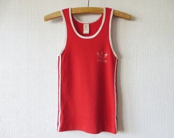 Red Adidas Shirt Vintage 80s Adidas Tank Top Adidas Logo Shirt Three Stripe Shirt Cotton Sport Shirt Cotton Jersey Shirt Small Size Shirt