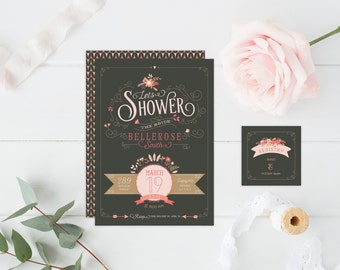 Vintage Bohemian Bridal Shower Invitations - Gray, Coral, & Gold Bridal Shower Invites - Floral Tribal Chic Cards