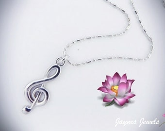 Music Note, Clef Necklace, Treble Clef, Music note necklace, Silver necklace, Music Jewelry, ,