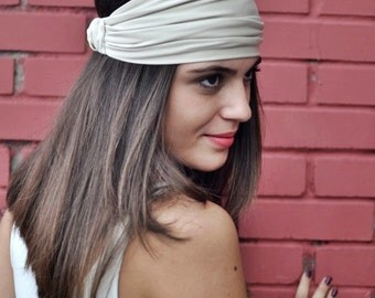 Cream Headband, Elastic Turban, Bohemian Headband, Hair Accessories, Womens Accessories, Womens Turban, Womens Headband, Vintage Headbands