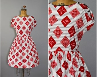 1950's Bandana Print Dress • Harlequin Dress • 50's Cotton Dress