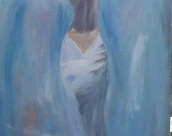 Original acrylic elegant lady in dress