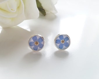 Forget-me-not Earrings - Flower Studs - Gifts for teachers - Turquoise Earrings - Punk Studs - Flower Studs - Nature Jewelry