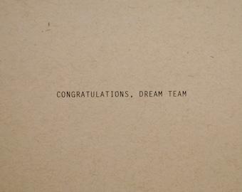 Dream Team, Wedding Card, Congratulations Card, Engagement Card, Love Card, Wedding Congratulations Card, Wedding Greeting Card