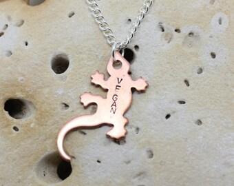 """Vegan gecko lizard necklace. Copper lizard with handstamped """"vegan"""" on 18"""" chain."""