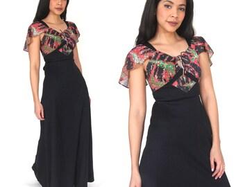 Vintage 70s Black Red Floral Sheer Flutter Sleeve Maxi Dress Hippie Victorian Glam