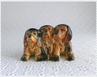 Vintage Puppy Figure, Beswick Pottery, Trio of Puppies, Dog Figurine, 1941-1965, Made in England, Brown Black Ceramic, Spaniel Puppies
