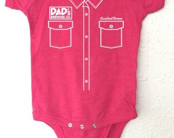 "Craft Beer Baby bodysuit- Assistant Brewer ""Work Shirt"" - Pink"