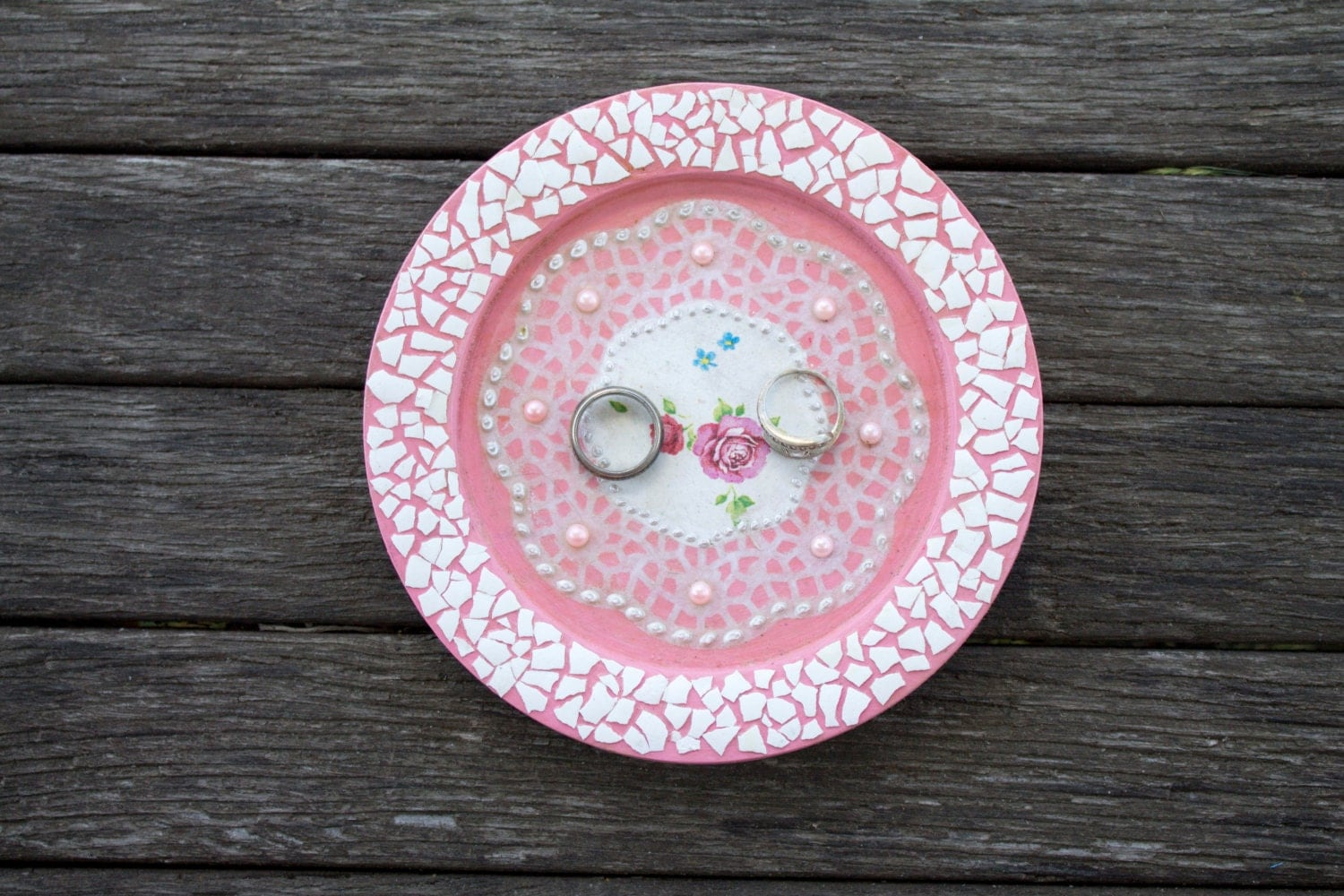 Engagement ring dish shabby chic Wedding ring dish pink roses ...