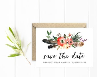 Save The Date, Boho Save The Date Cards in Coral, Flowers and Feathers