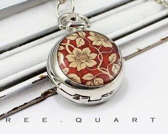 Chain watch, flowers, floral, pocket, red, beige, dark red, flowers, burgundy, watch, necklace, silver, vintage, nostalgic, chain