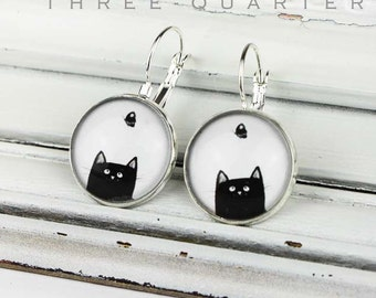 Earrings with cat and butterfly, black, white, cartoon, simple, silver, glass, round, pet