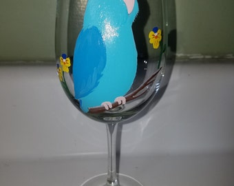 Parrotlet wine glass, hand painted