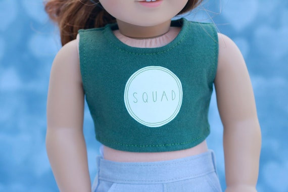 American Made Doll Clothes | Olive Green Squad GRAPHIC CROP TOP for 18 inch doll such as American Girl Doll