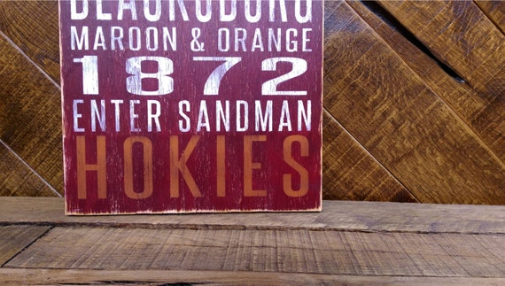 Virginia Tech Distressed Wood Sign--Great Father's Day Gift!