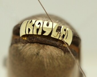 Hand Carved Brass Name Ring