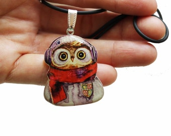 Cute Owl Necklace Owl Pendant Animal Necklaces Animal Pendants Animal Jewelry Owl Jewelry FREE SHIPPING Red Purple Jewelry For Owl Lovers