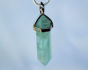 Green Fluorite, Pendant, Gemstone, Point, Crystal Necklace, jewelry, necklace, crystal, jewelry necklace, pendant necklace, crystal pendant