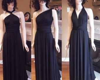 Convertible bridesmaid dress, infinity bridesmaid dress, black bridesmaid dress