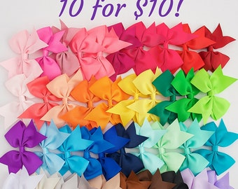 Little girl bows 3.5 hair bow clips, wholesale bows, gift girl, girls bows, hair bows, bows for girls, lot of bows, cheap bows, dollar bows,