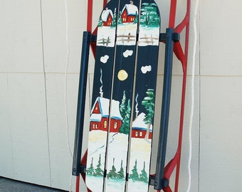 Hand Painted Vintage Sled, Flexible Flyer Decorative Painting, Night Time Winter Snow Scene Christmas Village, Wood Iron Sled, Holiday Decor