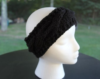 "Cabled Headband, Black ""The Katie"""