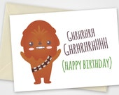 Star wars printable card with Chewbacca - Birthday card Instant Download - PDF DIY - Printable 6x4 inch