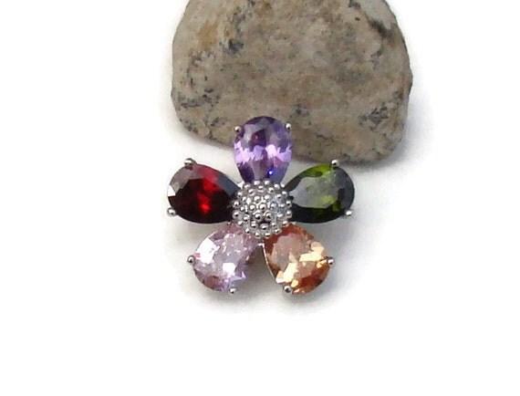 Multicolor Zircon Gemstone 20 Mm Noosa Style Snap Charm