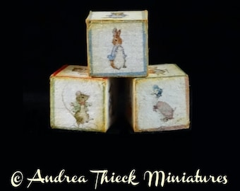 Miniature Beatrix Potter Cubes - Peter Rabbit & Friends - Set of 3