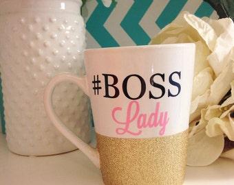 Glitter Dipped Boss Lady Mug, Personalized, Monogram SALE