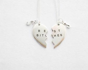 Best Bitches, Best Bitches Necklaces, Best Bitches Necklace Set, Large Charm Necklaces, Broken Heart Necklaces, Best Friends, Bitch Necklace