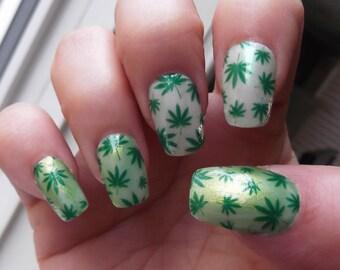 Pot leaf nail art etsy pot leaf nail art decals ptf full nail wrap decoration green marijuana pot leaves prinsesfo Gallery