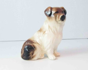 Mixed Breed Dog Glossy Ceramic Unmarked White/ Dark Brown Vintage - 3.5 Inches