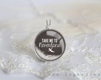 Peter Pan Necklace, Inspiration necklace, Take me to Neverland Silver Pendant Necklace, Resin Necklace, Disney words, Pendant statement N014