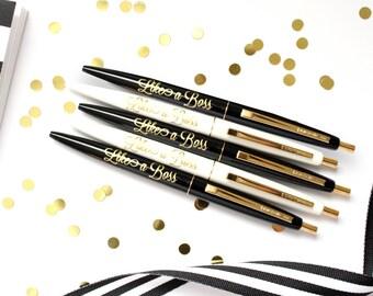 Set of 5 pens, Like A Boss pens, Black Ink Pen, Pen, Imprinted Pen, Desk Accessories, Teacher Gift, Stocking Stuffer, Cute Pen, TED033-PEN