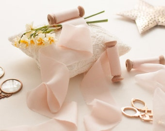 Silk Bouquet Ribbon, Blush Bouquet Ribbon, Hand Dyed and Handmade
