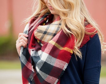 Blanket Scarf | Red, Navy and Yellow