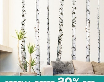 Birch Trees Wall Decal Forest, Set of 7 trees, Photographic Real Birch Trees VINYL OR FABRIC  R0010