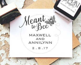 Rustic Wedding Stamps, Meant to Bee Tags, Custom Wedding Stamp, Meant to Bee Wedding Favor, Wedding Favor Rubber Stamp  CS 10250