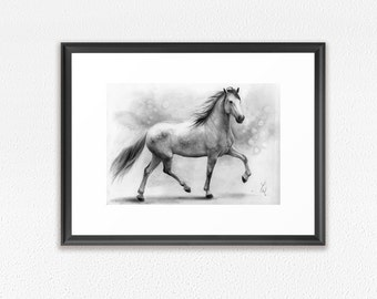 Framed Art Print, horse pencil drawing print, GICLEE PRINT, white horse drawing, galloping young horse framed print, framed horse drawing