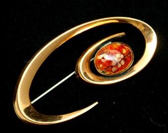 "Matisse Renoir Copper Enamel Brooch Pin Vintage ""Coronet"""