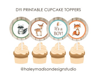 Woodland Baby Shower, Forest Friends Cupcake Toppers DIGITAL FILE