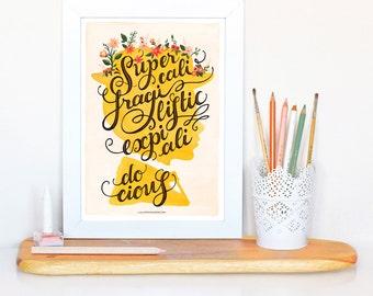 Mary Poppins Music Poster, Supercalifragilisticexpialidocious Typography Print, Disney Illustration, Disney Poster, Nursery Decor, Wall Art